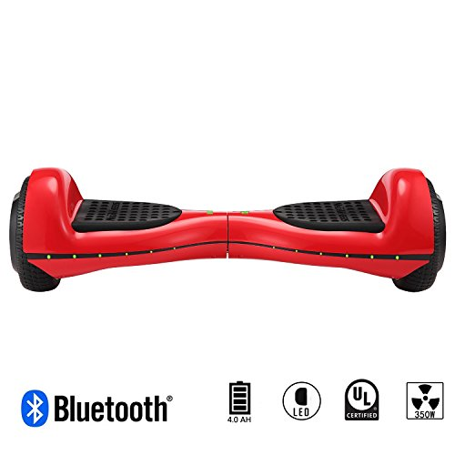 Megawheels UL 2272 Certified Hoverboard -6.5'' Electric Self-Balancing Scooter-Bluetooth Speaker With LED Lights Carrying Bag (red) by MegaWheels