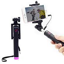 Bigrids Wired Selfie Stick with Telescoping Steel Poles, Max. Length 30 Inches, Compatible with IOS and Android, 270 Degree Rotatable Cell Phone Holder (Pink)