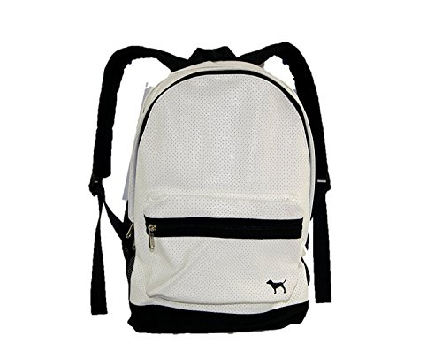 Victoria's Secret PINK Campus Backpack White Black Perforated Leather Bookbag by Victoria's Secret (Image #3)