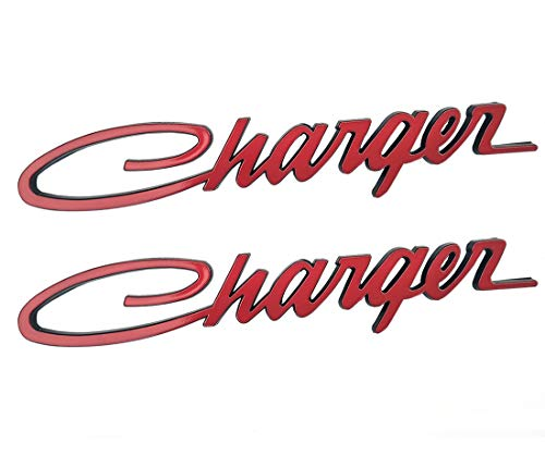 - Yuauto 2Pcs Charger Nameplate Emblems Badges Decal for Dodge Charger Chrysler Mopar Finish (Red)