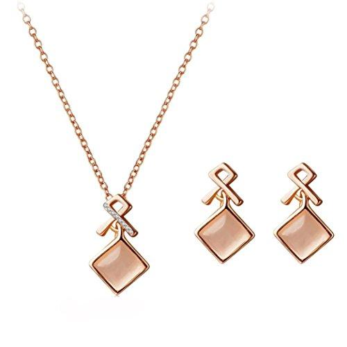 Celendi_Jewelry Women's Circular Earrings Crystal Pendant Necklace Ear Studs - Circular Charm Crystal