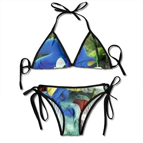 Kawaii So-nic The Hedgehog Women's Triangle Bikini Athletic Two-Piece Bathing Suit Adjustable Strap Sexy Swimwear Black]()
