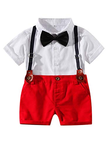 Abolai Baby Boy Summer Cotton Gentleman Long Sleeve Bowtie Romper Suspenders Shorts Outfit Set (3-6month, Style2 Red) ()