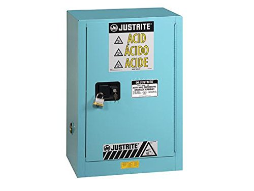Justrite 8825022 ChemCor Steel 1 Door Manual Close Lined Under Fume Hood Acid Corrosive Safety Cabinet with Right Hinge, 15 Gallon Capacity, 24