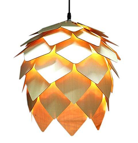 Led Pendant Lamp DIY Wooden Creative Pine Cone Ceiling Light Retro Hanging Drop Light Indoor Decorative(Bulb Not Included),50cm ()