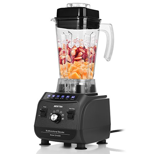 BESTEK Professional Blender for Shakes and Smoothies, 1500W Multi-Function Smoothie Maker, 6 Pre-programmed Food Processor with 2L 8-Cup Jar (Processor Active)