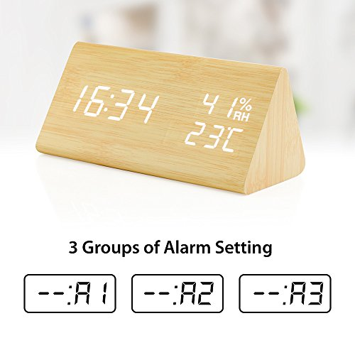 Oct17 Wooden Alarm Clock, Wood LED Digital Desk Clock, UPGRADED With Time Temperature, Adjustable Brightness, 3 Set of Alarm and Voice Control, Humidity Displaying - Bamboo by Oct17 (Image #6)