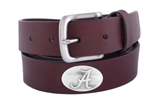 [NCAA Alabama Crimson Tide Brown Leather Concho Belt, 34] (Brown Leather Concho Belt)