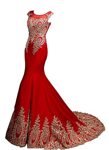 Kleider Meerjungfrau Rot emmani lang rund Schwanz Party Aufkleber Damen Hals nqRfZ