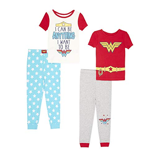 Wonder Woman Girls' Toddler 4 Piece Cotton Pajama Set, Grey Heather 4T ()