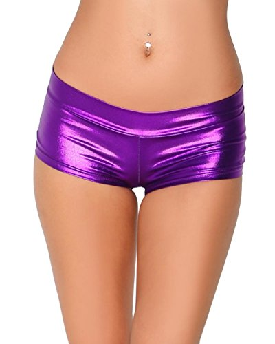 iHeartRaves Metallic Rave Booty Dance Shorts (Medium, Purple)