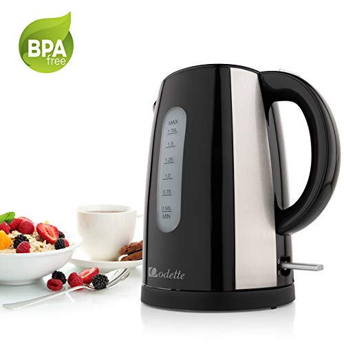 1/2 Kettle Faucet - Odette Fast Boil 7 Cup (1.7 Liter) BPA-Free Cordless Black Electric Kettle with Auto Shut Off, Boil Dry Protection and Double Layer Handle for Cool Touch