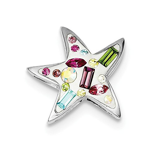 Sterling Silver Rhodium Plated Stellux Crystal Star (Rhodium Plated Crystal E Slide)