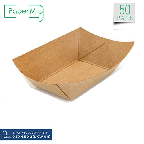 Brown Kraft Paper Food Tray, Extra Large Size, Eco-Friendly Kraft Take Out Food Trays USA Made, FDA Approved Recyclable & Biodegradable, Convenient for All Event: Party, Camping, Carnival, BBQ(50pcs)