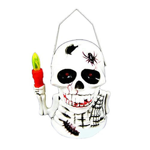 AMA(TM) Halloween Skull Hanging Light Lamp Eye Flashing Terror Sound Holiday Party Decoration (A) (Hanging Skull Lamp)