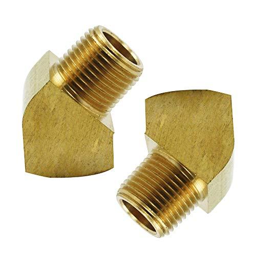 Legines Brass Pipe Fitting, 45 Degree Barstock Street Elbow, 3/8