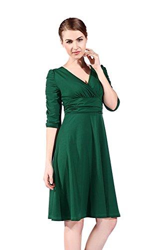 Womdee Damen Vintage V Ausschnitt Halb Ärmel A Linie Kleid ...