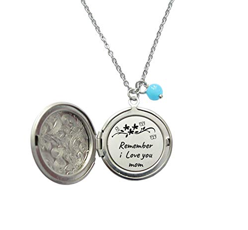 Remember I Love you Mom hidden message locket necklace with a blue bead,mother's day gift,wedding gift.