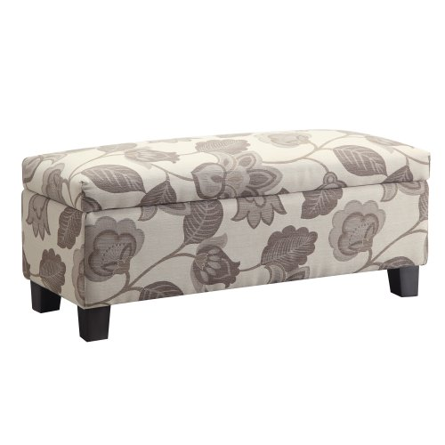Kingsbury Home Corrine Floral Poppy Style Fabric Storage Bench Ottoman (Floral Upholstered Ottoman)