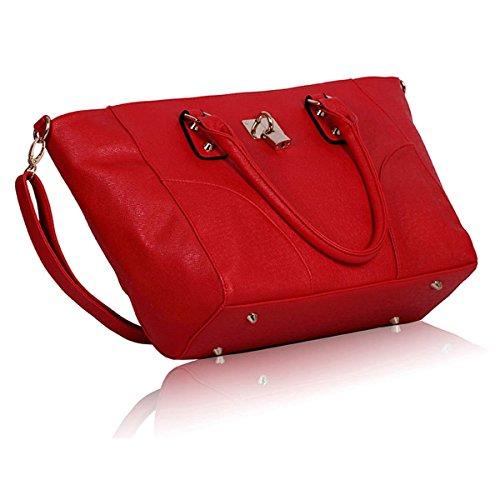 xardi Londres Reino Unido Candado Ladies College Girl–Funda de piel sintética mujer bolso de hombro bolso de mano Rojo - rojo