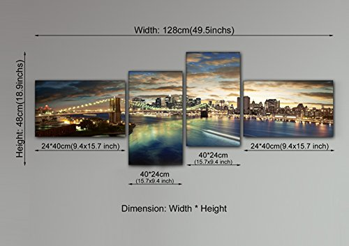 YPY Oil Painting Metropolis Night Brooklyn Bridge New York Cityscape Wall  Art Ready To Hang Paintings For Home Living Room Bedroom Office Canvas  Material ...