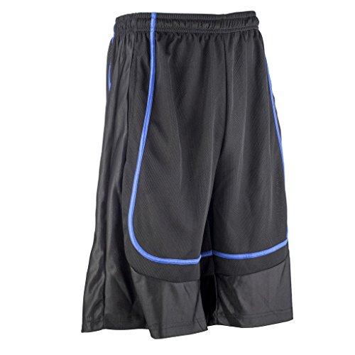 Style Mens Basketball Shorts (Better Wear Basketball Shorts for Men L Black/Blue stripe)