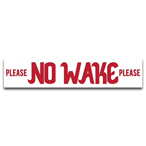 VictoryStore Yard Sign Outdoor Lawn Decorations: Please No Wake Vinyl Banner, Wind Resistant Mesh, 3' x 15'