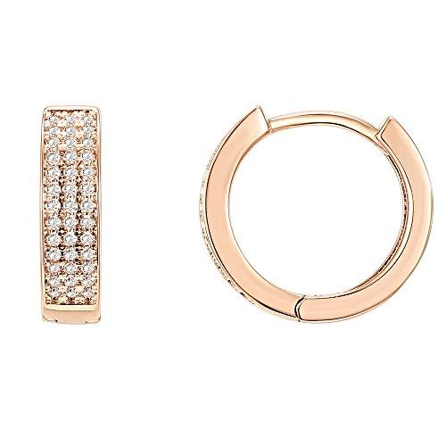 PAVOI 14K Rose Gold Plated Cubic Zirconia Huggie Small Hoop Earrings | Stud Earrings for Women