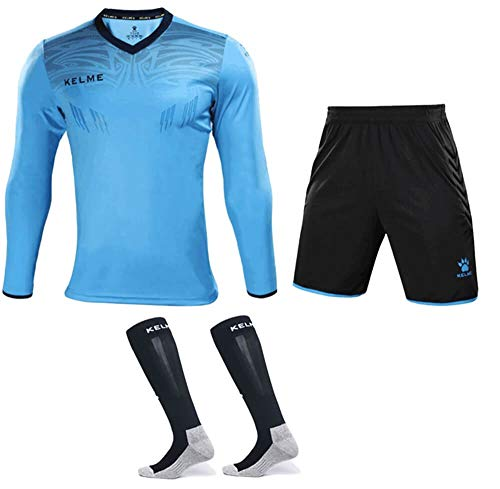 KELME Goalkeeper Jersey Uniform Bundle - Set Includes Goalkeeper Shirt, Shorts and Socks - Professional Soccer Brand with Protection Pads on Shirt and Shorts. (Large, Blue)