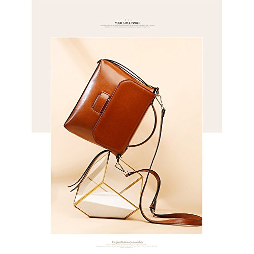Bag Vintage Crossbody Cell Women Leather Bags Purses Shoulder Cowhide Yoome Brown Bags Phone Daily Handbag for 1FqIRKxAw