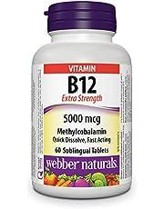 Webber Naturals Vitamin B12 Methylcobalamin, Quick Dissolve Tablet, 5,000 mcg, 60 Count