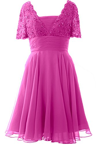 Cocktail Lace Gown Fuchsia Bride Formal the Elegant Short Mother of Sleeve MACloth Dress g1zwPq8WW