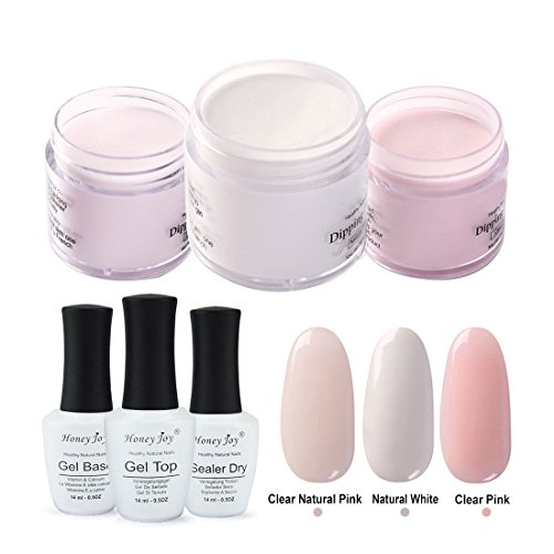 6 in 1 Dip Powder French Manicure Set Pink and White Dipping Powder Nail Starter Kit Liquid System,Base Top Activator, 28g/Box (0.98 ()