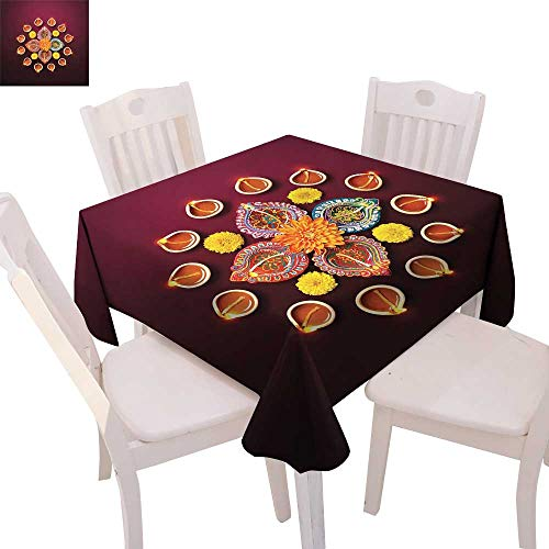 Print Square Raymond (cobeDecor Diwali Stain Resistant Wrinkle Tablecloth Festive Celebration Tribal Religious Sacred Flowers Burning Candles Print Square Wrinkle Resistant Tablecloth 54