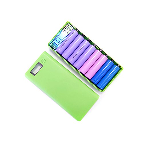 Cargador móvil y portátil de 5V 2A DIY Dual USB Power Bank Shell Box Portable 8x18650 External Battery Power Bank Case con...