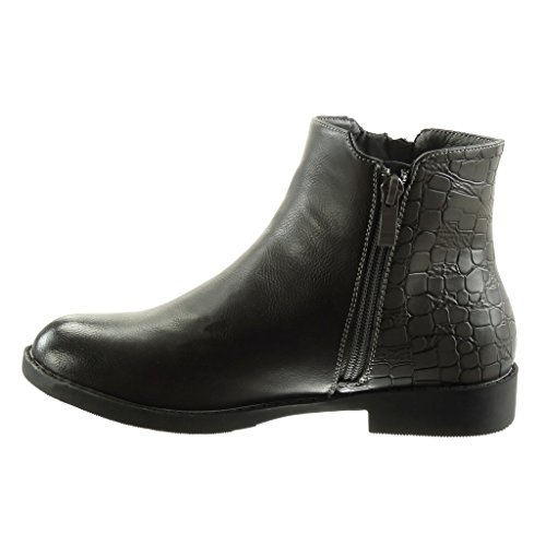 Angkorly - damen Schuhe Stiefeletten - Reitstiefel - Kavalier - Biker - bi-Material - Schlangenhaut - Reißverschluss Blockabsatz 2.5 CM Grau