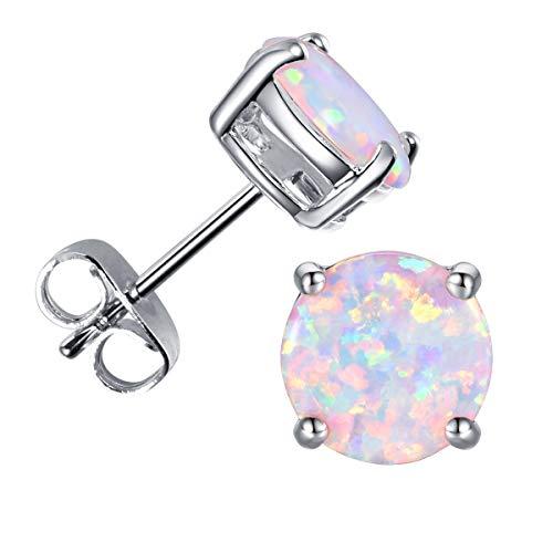 CERSLIMO 18K White Gold Plated Opal Stud Earrings Birthstone Earrings For Women 8mm (White)