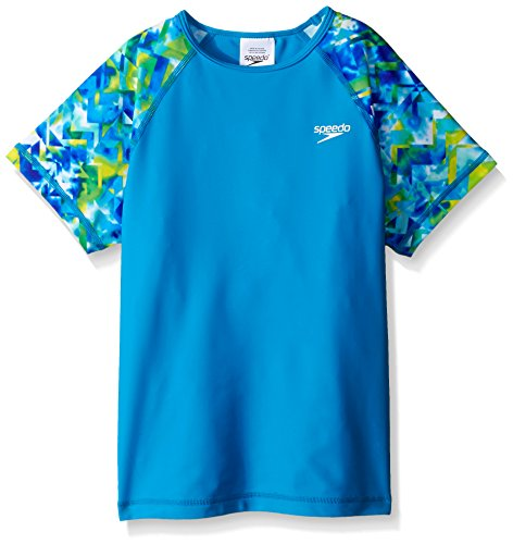 Speedo Big Girls Printed Sleeve Rashguard, Pop Blue, Medium/10