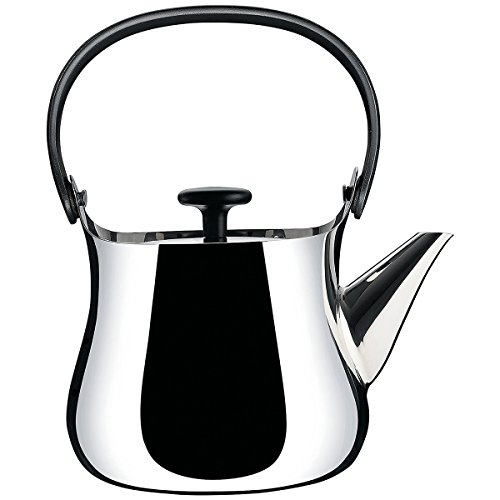 Alessi ''Cha'' Kettle/Teapot in 18/10 Stainless Steel Mirror Polished Handle And Knob in Thermoplastic Resin Magnetic Steel Bottom Suitable For induction Cooking, Silver by Alessi