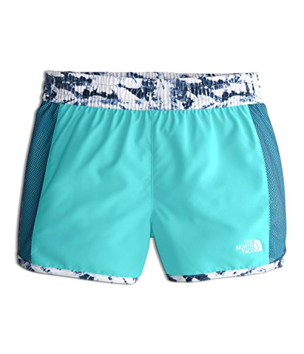 - The North Face Girl's Class V Water Shorts - Blue Wing Teal & Fern Print - XXS