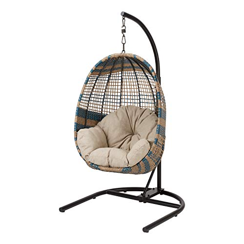 Trendy Stylish Versatile Indoor/Outdoor Durable All Weather UV Protected Easy Care BLUE/NATURAL Two-Tone Patio Wicker Hanging Chair with Stand and Beige Cushion - Relax, Lounge, Read And Play In - Wicker Tone Two