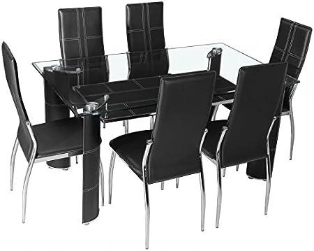 Table à manger en verre + 6 chaises simili cuir noir: Amazon
