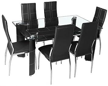 Table à manger en verre + 6 chaises simili cuir noir: Amazon ...