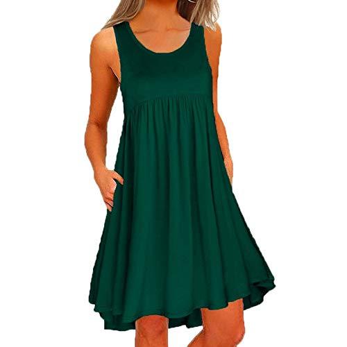 Toimothcn Women Sleeveless Pleated Cotton Dress Casual