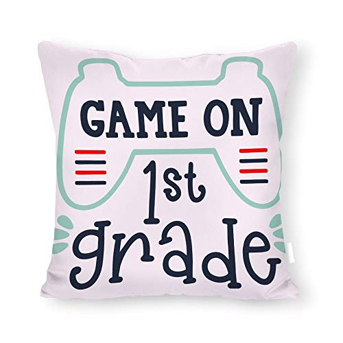 DKISEE Decorative Game On First Grade Square Throw Pillow Cover Canvas Pillow Case Sofa Couch Chair Cushion Cover for Home Decor ()