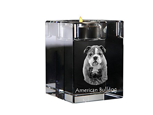 Art Dog Ltd. American Bulldog, crystal candlestick, candle holder with dog, souvenir, limited (Bulldog Candle Holder)