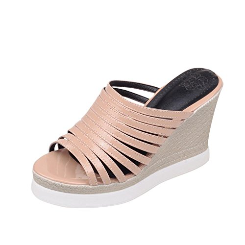 Carolbar Women's Solid Color Concise High Heel Wedge Casual Sandals apricot WOlGGD4