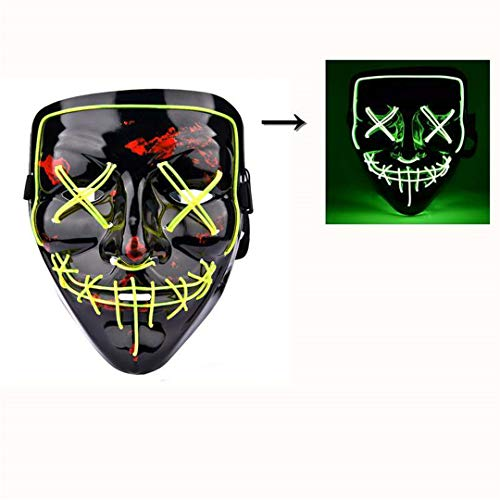 Halloween LED Mask The Purge Mascara Led Mask Light Up Neon Skull Mask Party Glow in Dark Festival Cosplay Costume Supplies Glow Green