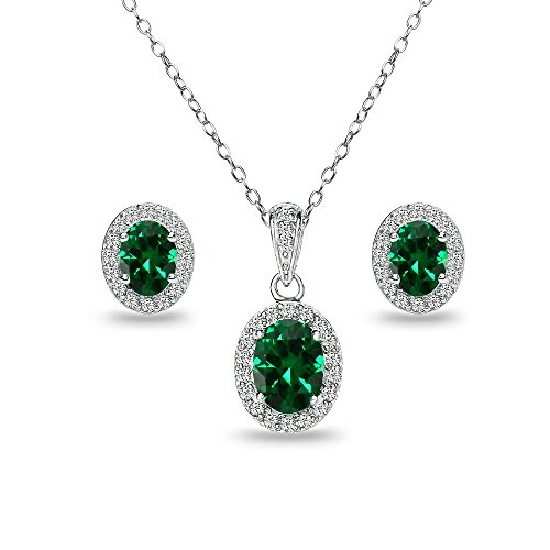 (Sterling Silver Simulated Emerald and White Topaz Oval Halo Necklace and Stud Earrings)