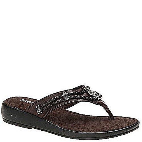 (Minnetonka Silverthorne Thong Women's Sandal 7 B(M) US Brown-Brown)